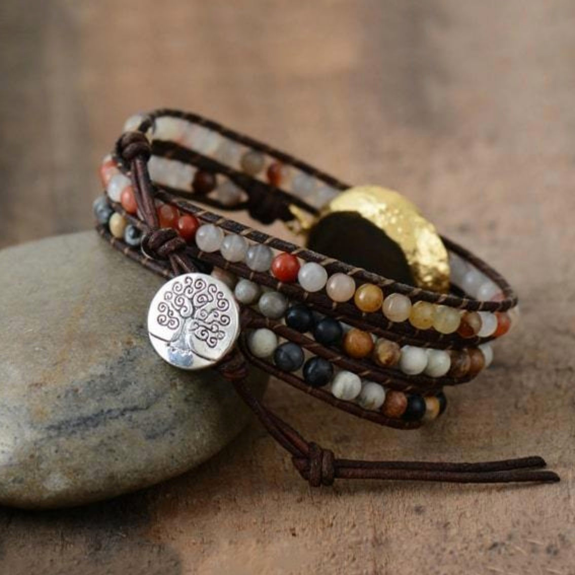 3 Layer Natural Sun Jasper Stone Leather Wrap Bracelet