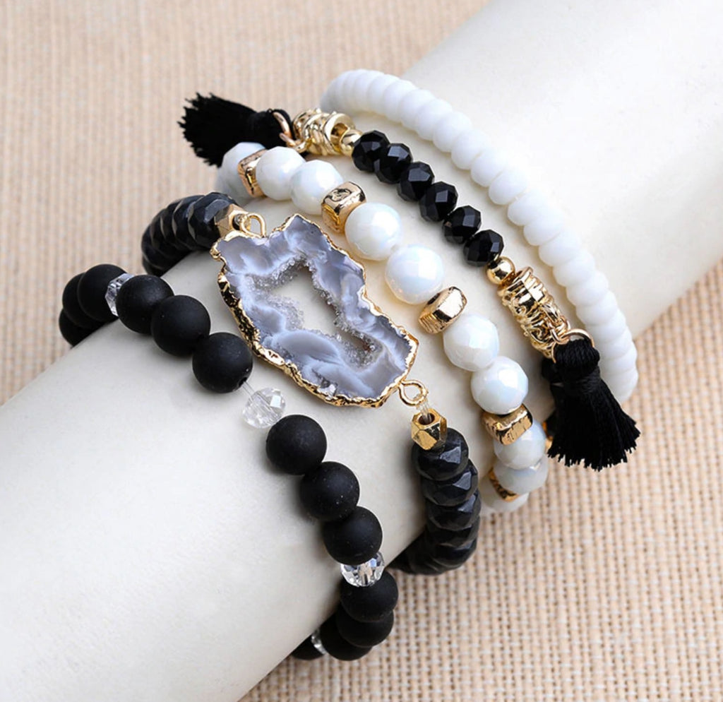 5 Piece Natural Druzy & Gemstone Bracelet Set