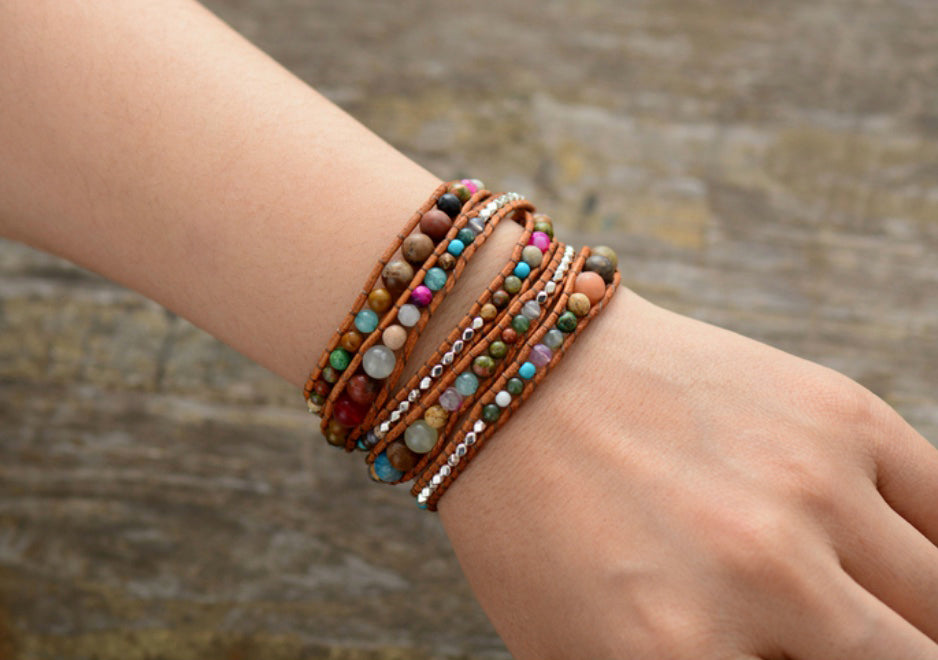 Natural Gemstone Beaded Leather Wrap Bracelet