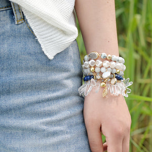 6 Piece Natural Druzy Stone Stackable Bracelets