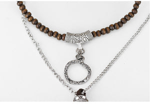 Antique Silver and Suede Necklace with Wood Beads