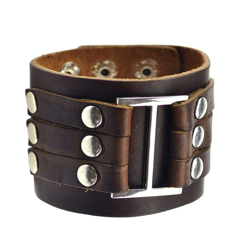 Brown Rivet Leather Cuff Bracelet
