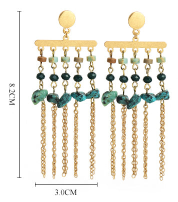 Natural Stone Drop Tassel Earrings