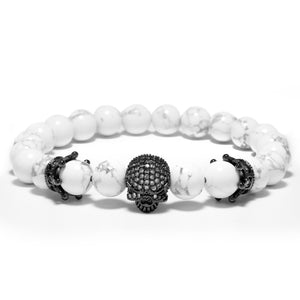 Double Crown Rhinestone Skull Bracelet