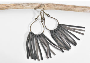 Leather Tassel Water Drop Earrings