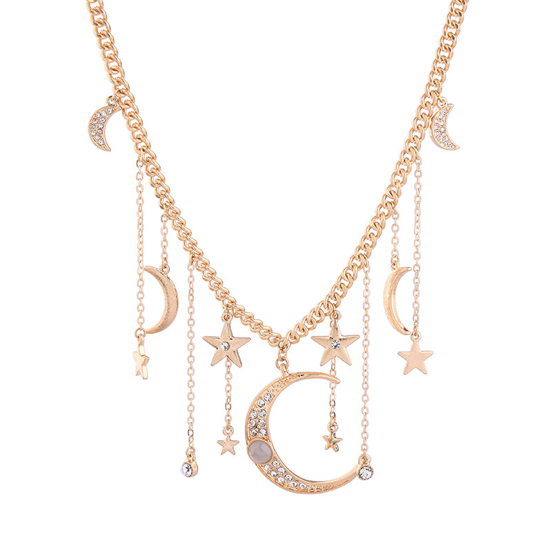 Crystal Moon & Star Necklace