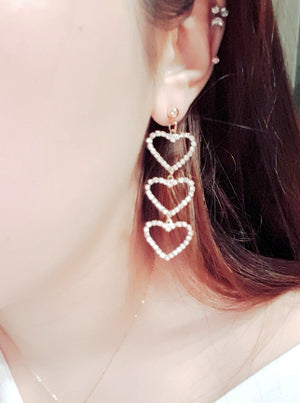 Asymmetric Crystal & Pearl Heart Earrings