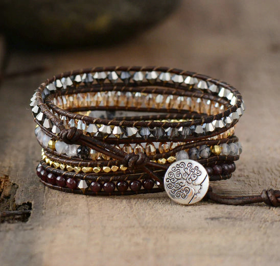 Unique Natural Crystal Druzy 5 Layers Leather Wrap Bracelet