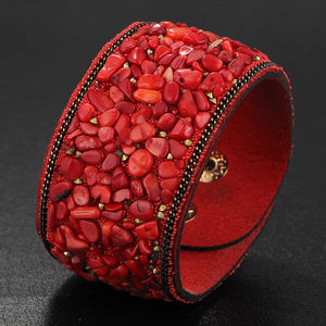 Vintage Leather & Natural Gravel Stone Cuff Bracelet