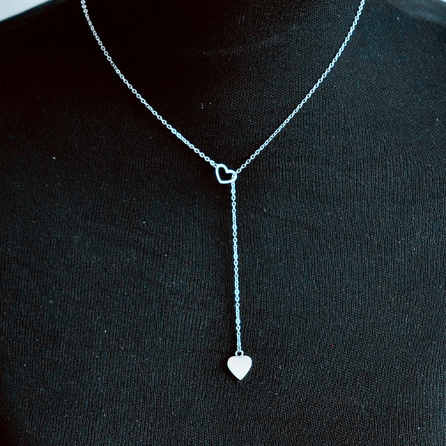 Simple Open Heart Chain Necklace