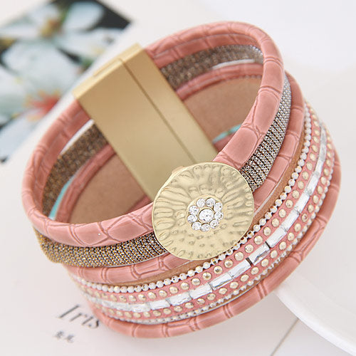 Multi Layer Leather Charm Cuff Bracelet
