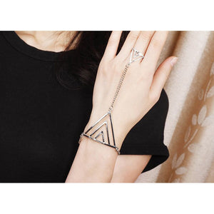 Chic Pyramid Ring & Slave Bracelet