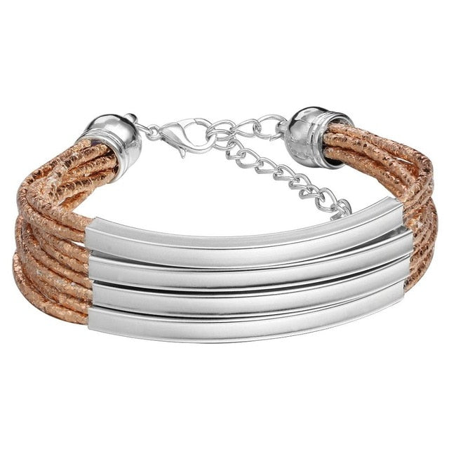 Multi-Layer Shimmering Leather Charm Bracelet