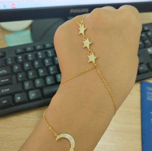 Crystal Moon & Star Slave Bracelet