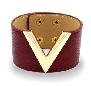 V Style Leather Cuff Bracelet