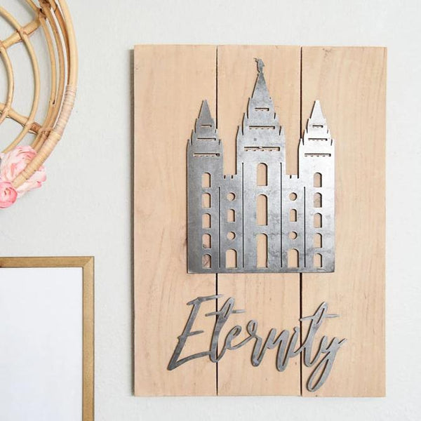 "Eternity 16.5"" X 22"" Rustic Metal Temple Wall Decor"