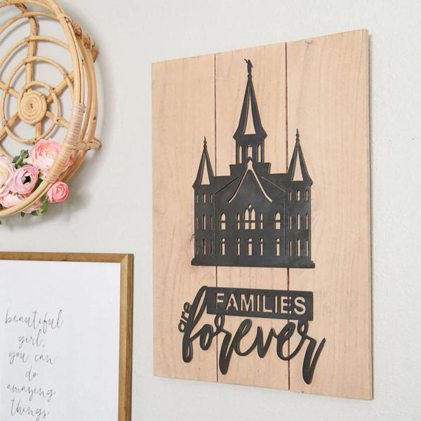 "Families Are Forever 16.5"" X 22"" Rustic Metal Temple Wall Decor (guaranteed delivery by Christmas)"