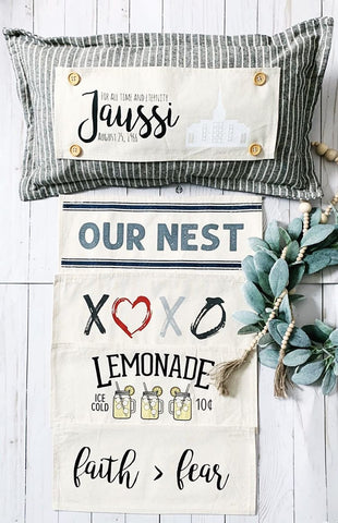 Our Nest, XOXO, Lemonade, Faith > Fear -- Interchangeable Pillow Panels® Set w/ Customizable Temple Panel