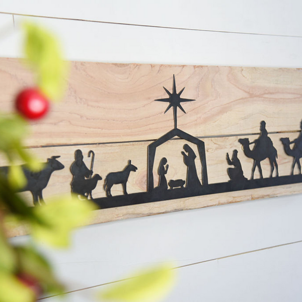 "11""x21"" Interchangeable Nativity/Welcome Rustic Farmstyle Sign (guaranteed delivery by Christmas)"
