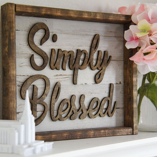 "12.5"" X 11"" Simply Blessed Sign"