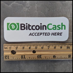 Bitcoin Cash Accepted Here (Small Rectangular Sticker)
