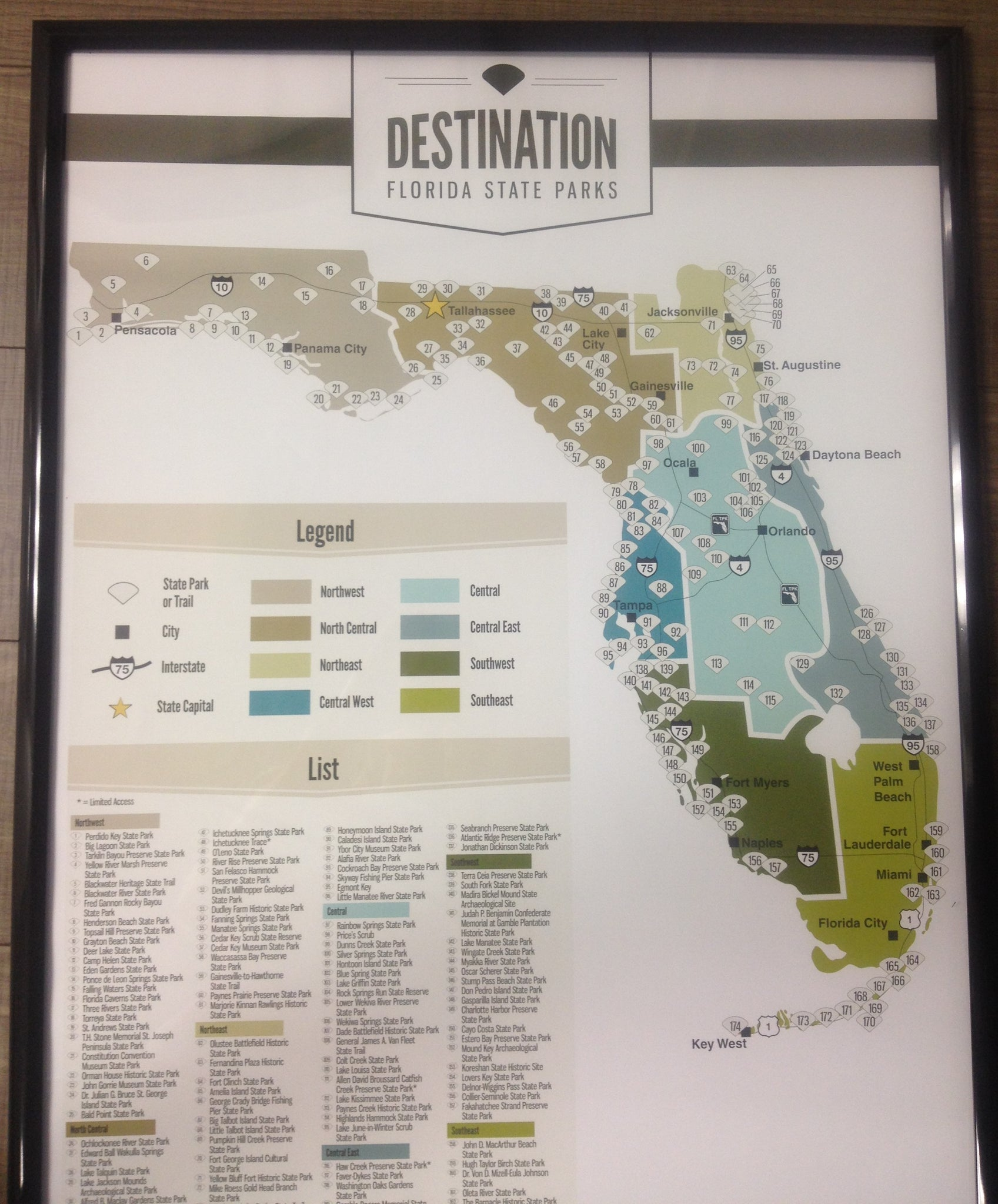Florida Parks Map.Florida State Parks Poster Map