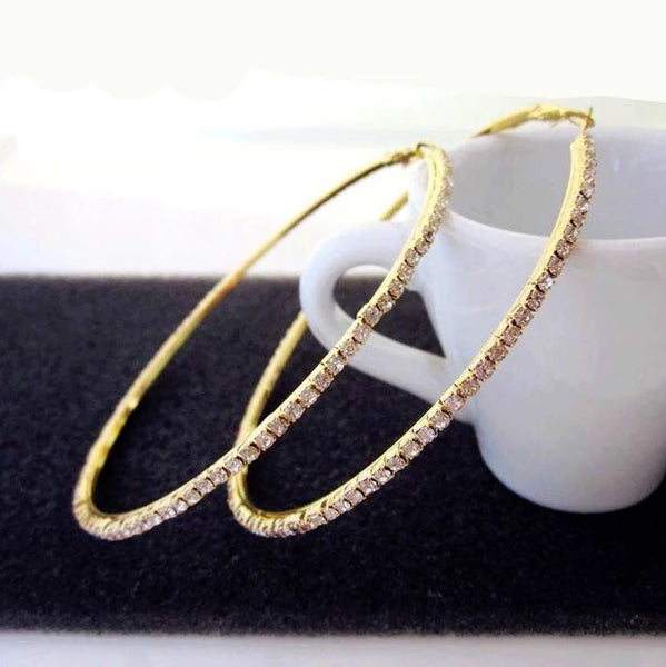 Big Rhinestone gold hoop earrings