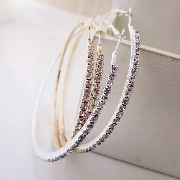 Small Rhinestone gold hoop earrings