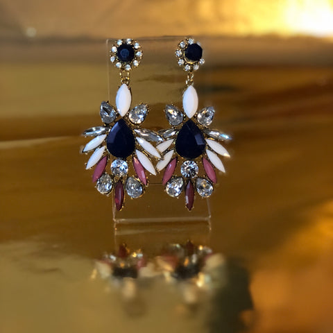Navy blue chandelier earrings