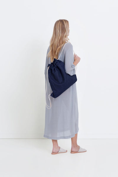 Drawstring Denim Backpack
