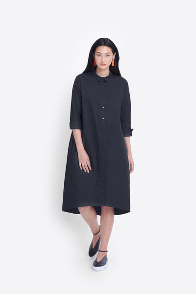 Dania Organic Cotton Shirt Dress Model Front 2 | Black