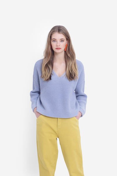 Hennie Chunky Knit V-Neck Sweater Model Front | Cornflower Blue
