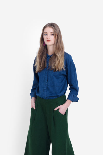 Karrie-long-sleeve-collared-shirt-indigo-blue-model-front