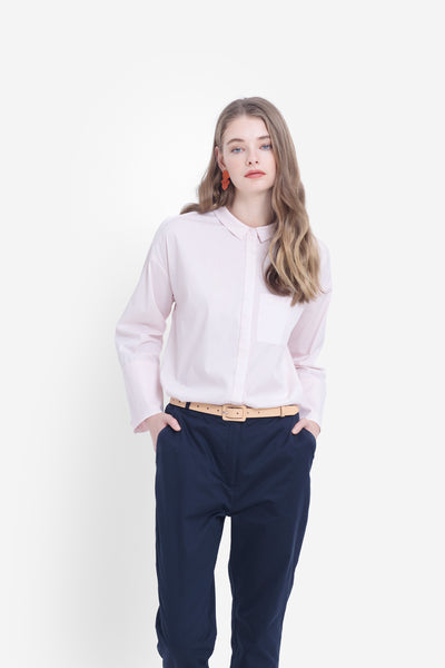 Maida-long-sleeve-collared-shirt-blush-pink-model-front