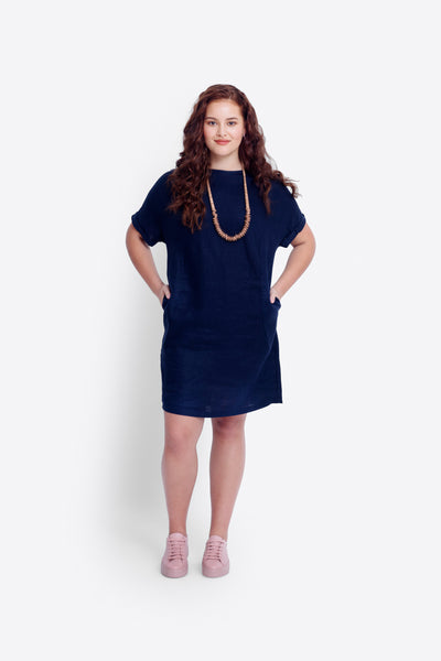 Hersom Linen Dress Model Front | Navy