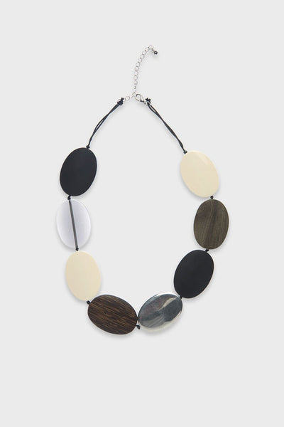 Short Resin Metal & Wood Necklace