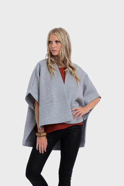 Panelled Wool Cape Poncho