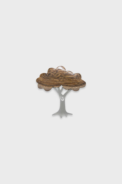 Tree Wood & Metal Brooch
