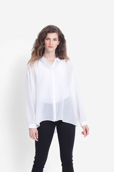 Liah Sheer Drop Hem Shirt Model Front | White