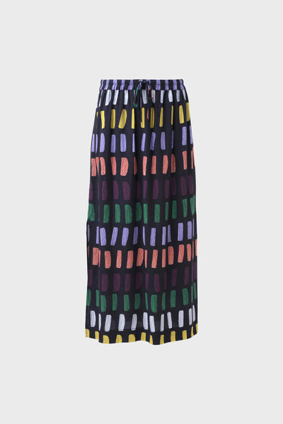 Juna Patterned Mid Length Skirt Front | Charcoal Multi
