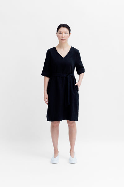 Ilona French Linen Mid Length Dress Belted Model Front |  Black