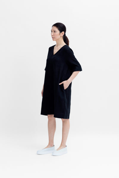 Ilona French Linen Mid Length Dress Model Front Angled |  Black