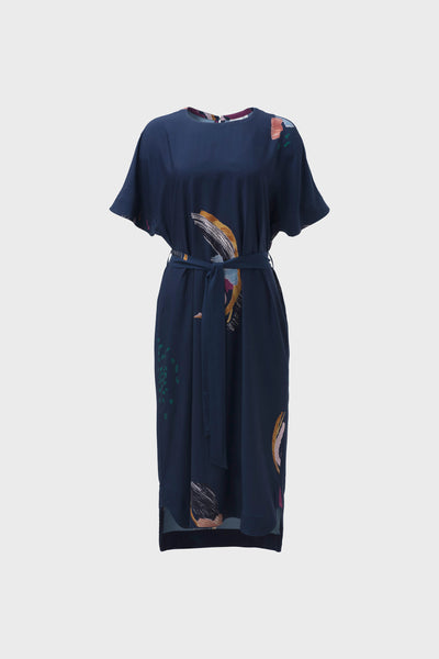 Carelle Print Mid Length Floaty Dress Front Navy