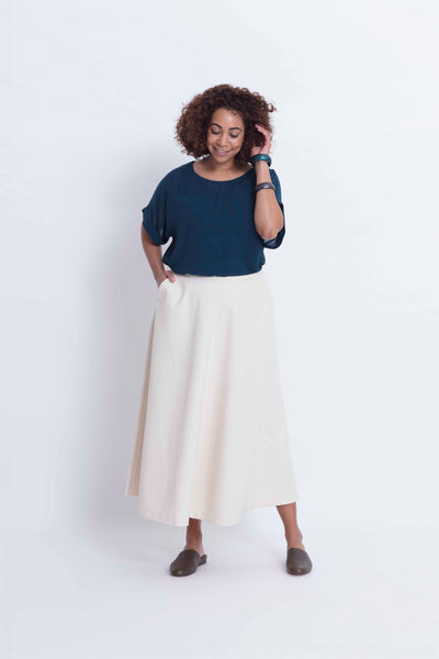 Kadi Circle Cotton Skirt Model Front Natural