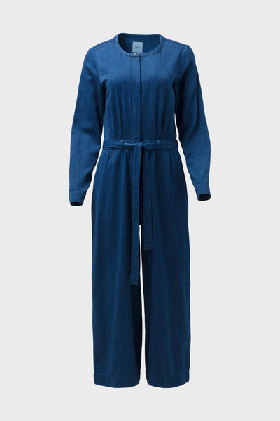 Karrie-long-sleeve-wide-legged-jumpsuit-indigo-blue-front