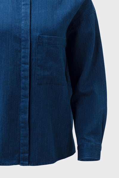 Karrie-long-sleeve-collared-shirt-indigo-blue-detail