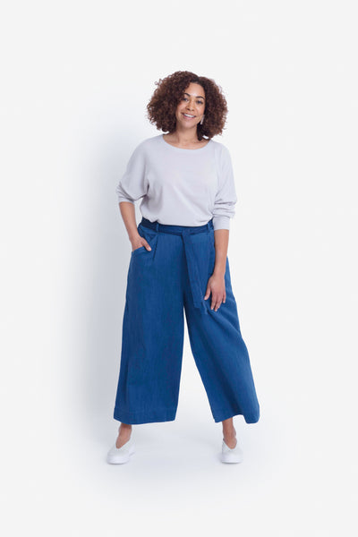 Karrie Organic Denim Look Wide Leg Pant Model Front Indigo