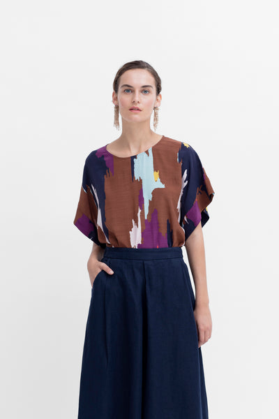 Ikat Print Flowy Top Model Styled Front