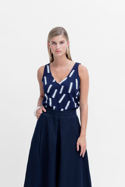Fyn Printed Organic Cotton Tank Model Styled Front NAVY
