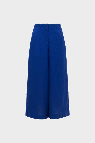 Hallvi Wide Leg French Linen Pants Front COBALT